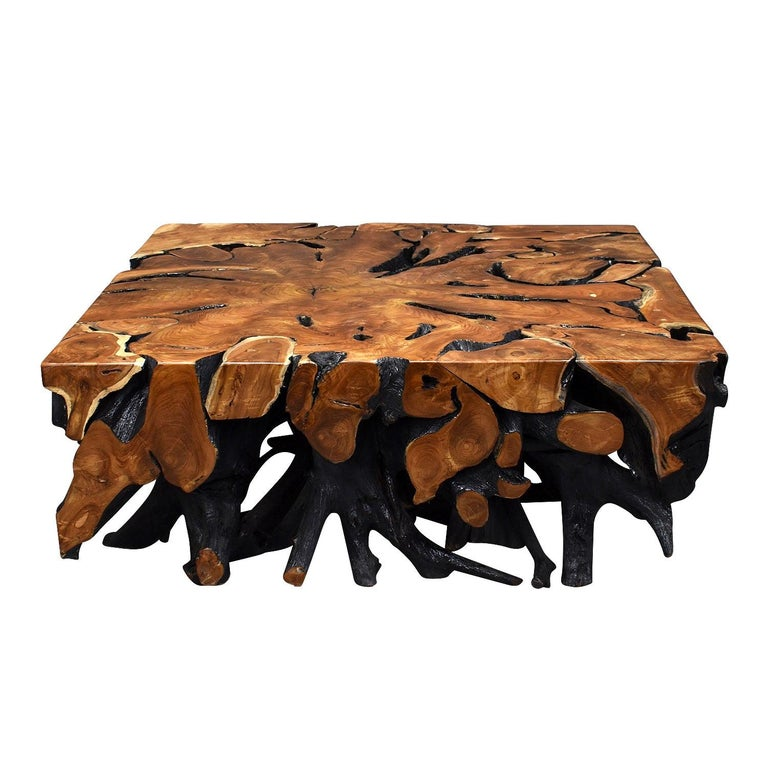 Lacquered Teak Root Square Coffee Table For Sale