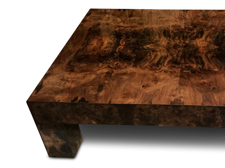 Wood Contemporary Modern Brown Lacquered Walnut Burl Rectangular Coffee Table For Sale