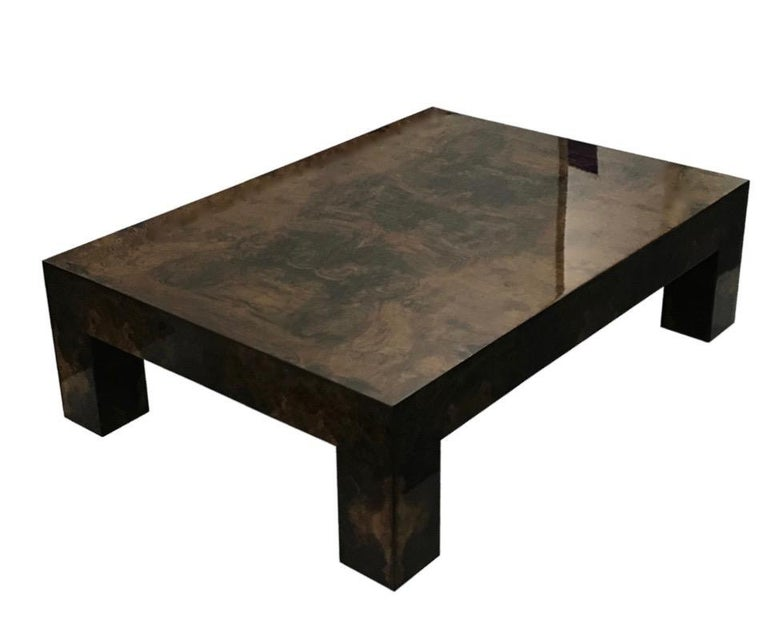 Contemporary Modern Brown Lacquered Walnut Burl Rectangular Coffee Table For Sale 1