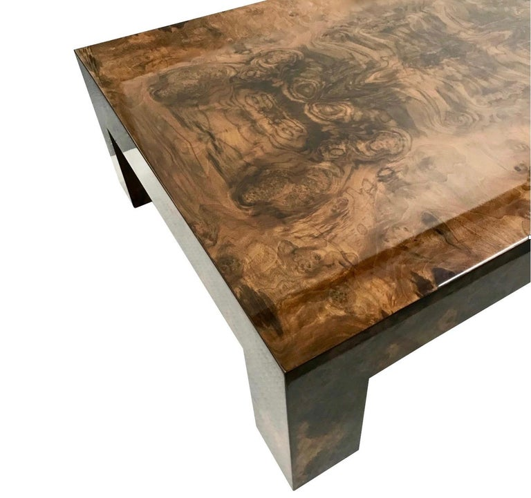Contemporary Modern Brown Lacquered Walnut Burl Rectangular Coffee Table For Sale 2