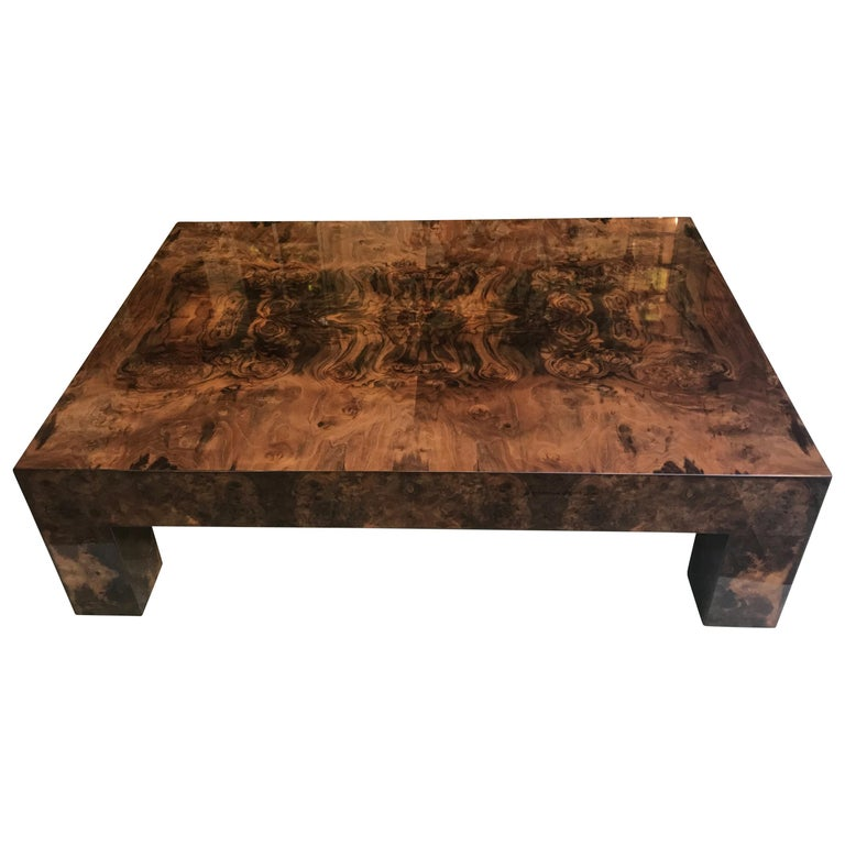 Contemporary Modern Brown Lacquered Walnut Burl Rectangular Coffee Table For Sale
