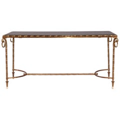 Lacquered Wood and Brass Low Table