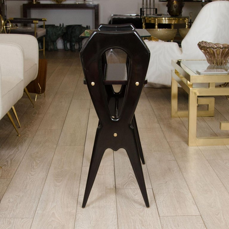 Mid-Century Modern Lacquered Wood and Glass Top End Table For Sale
