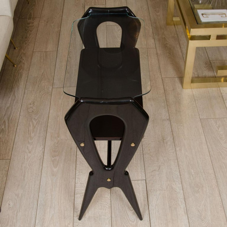 Italian Lacquered Wood and Glass Top End Table For Sale
