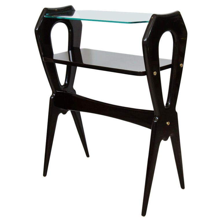 Lacquered Wood and Glass Top End Table For Sale