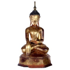 Lacquered Wood Antique Burmese Buddha Statue