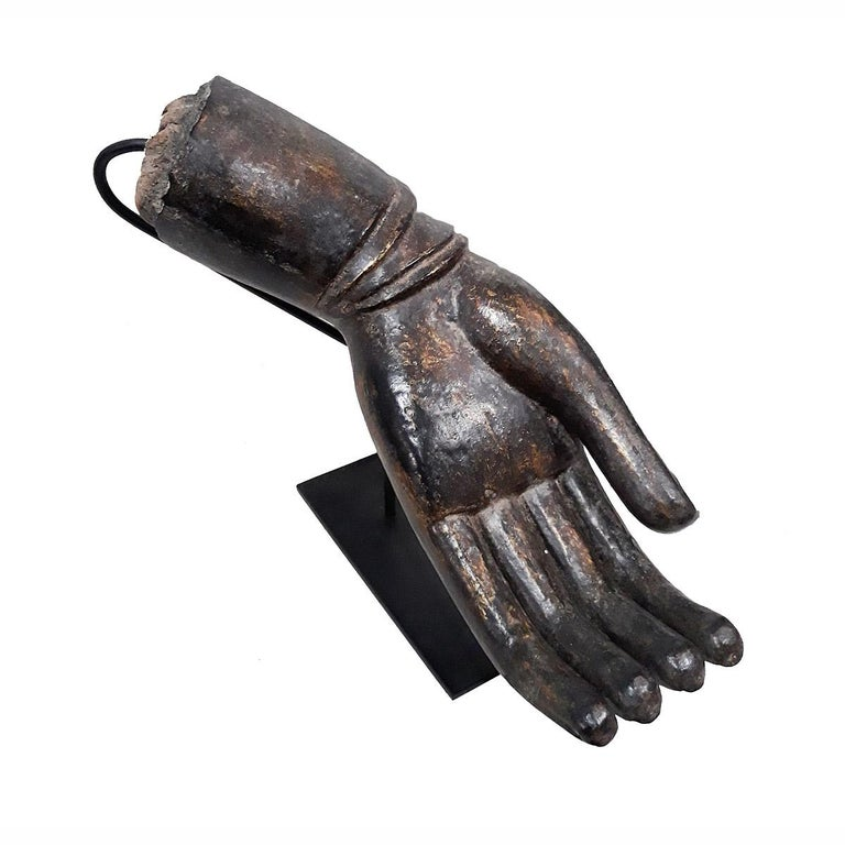 Other Lacquered Wood Buddha Hand, Early 20th Century For Sale