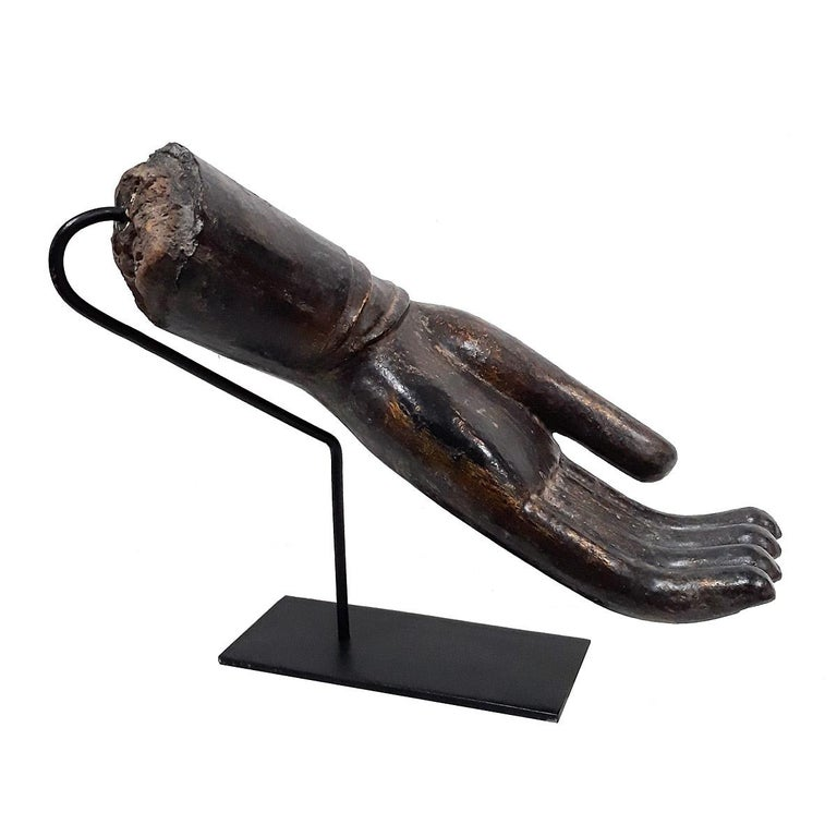 Lacquered Wood Buddha Hand, Early 20th Century For Sale 1