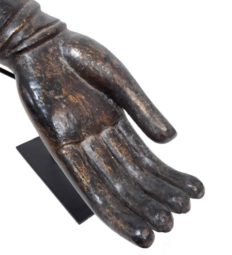 Lacquered Wood Buddha Hand, Early 20th Century For Sale 2