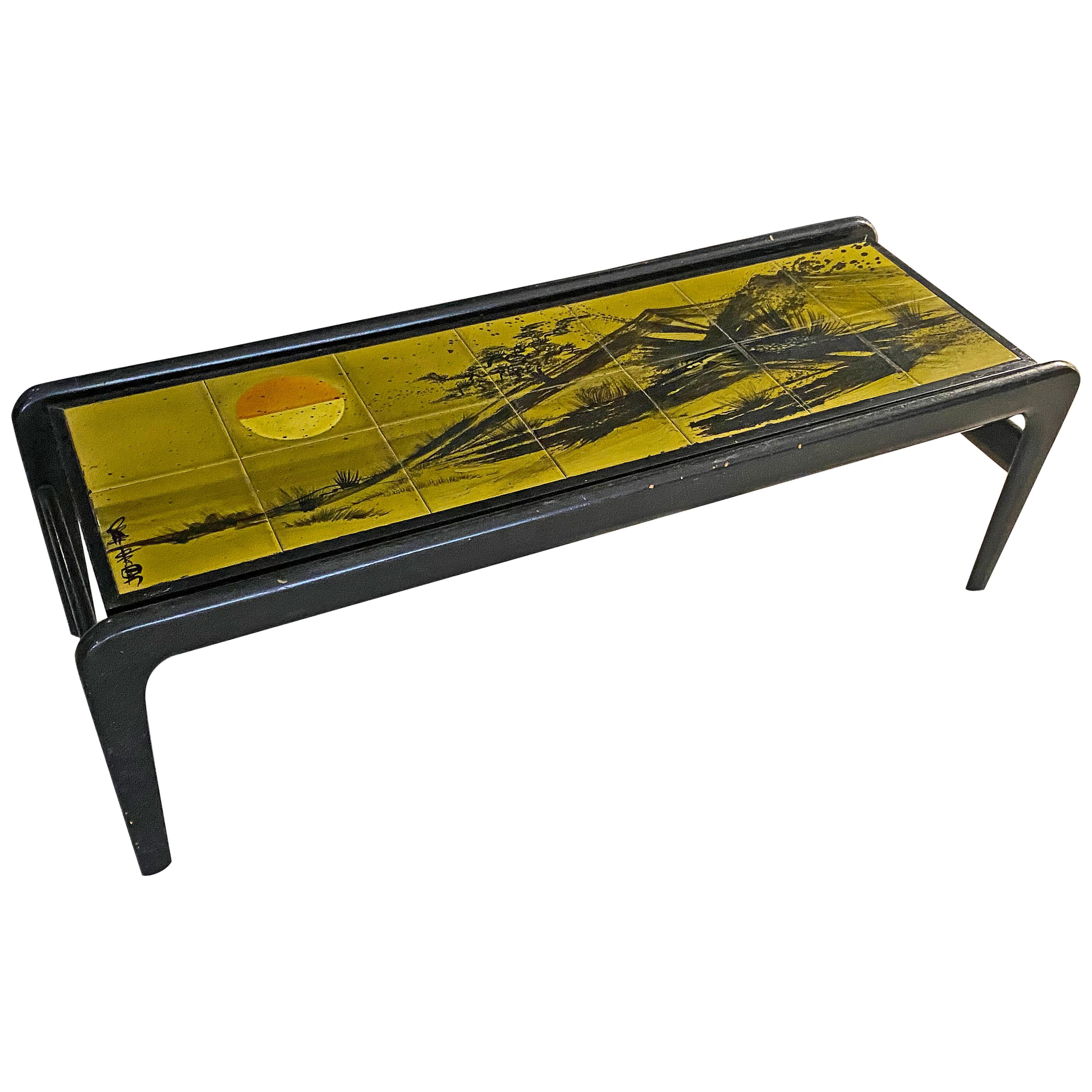 Lacquered Wood Coffee Table and Ceramic Tiles, circa 1960