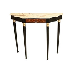 Lacquered Wood Console Table with Portuguese Pink Marble Top, Italy, 1950s