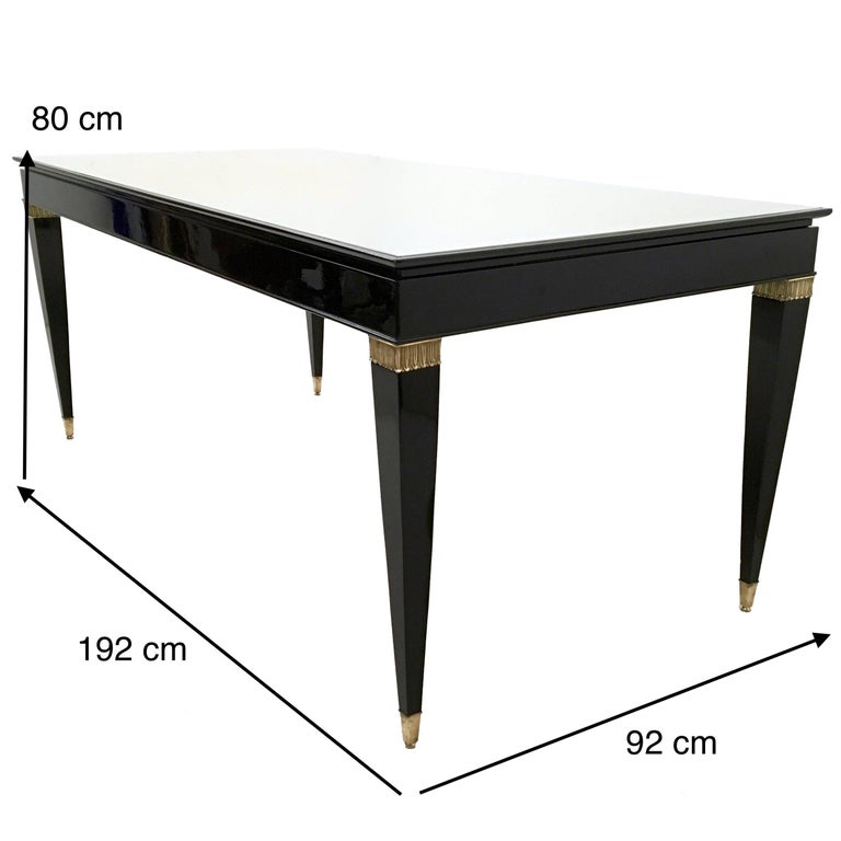 Vintage Lacquered Wood Dining Table by Paolo Buffa with Taupe Glass Top, Italy For Sale 4