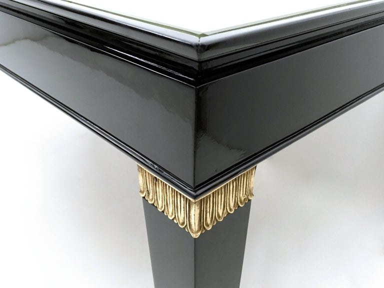 Crystal Vintage Lacquered Wood Dining Table by Paolo Buffa with Taupe Glass Top, Italy For Sale