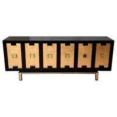 Lacquered Indigo Wood, Gold Leaf and Brass Cabinet, Credenza or Buffet Vintage