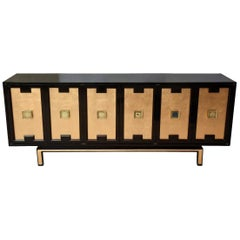 Lacquered Wood, Gold Leaf and Brass Cabinet or Buffet Vintage, 1960s