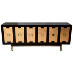 Lacquered Wood, Gold Leaf and Brass Cabinet or Buffet Vintage