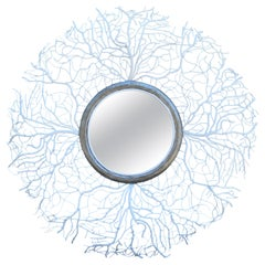 Lacy Coral White Metal Round Mirror