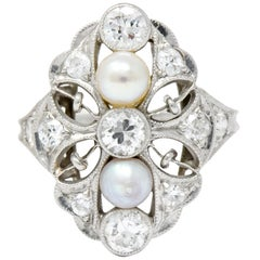 Lacy Edwardian Diamond Natural Pearl Platinum Dinner Ring
