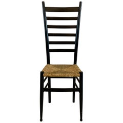 Ladder Back Accent Side Chair in the Style of Gio Ponti