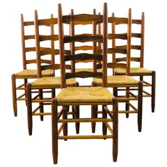 Ladder Back Dining Chairs with Rush Seats, Set of 6