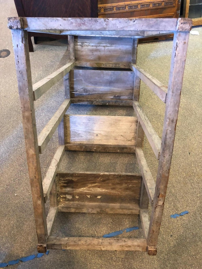 Ladder from France with Pegged Nails, Primitive Wood with Paint Remnants For Sale 5