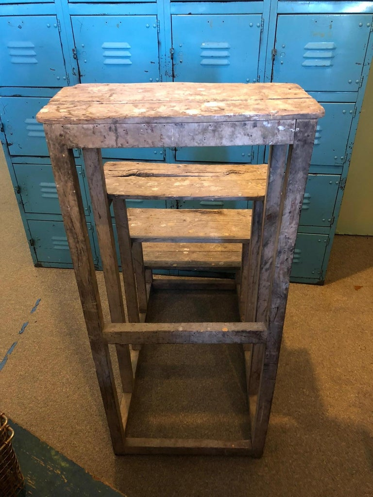 Ladder from France with Pegged Nails, Primitive Wood with Paint Remnants For Sale 4