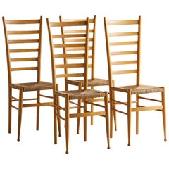Ladderback and Rush Seat Italian Wooden Dining Chairs, Set of 4
