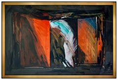 Laddie John Dill Large Original Abstract Painting Pastel Oil On Board Signed Art