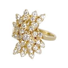 Ladies 1 Carat Waterfall Diamond Cluster 14 Karat Yellow Gold 6.3 Grams