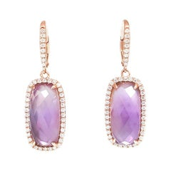 Ladies 14 Karat Rose Gold Amethyst and Round Diamond Drop Earring
