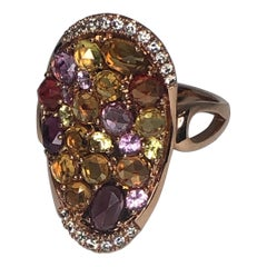 Ladies 14 Karat Rose Gold Diamond and Multicolored Stone Fashion Ring