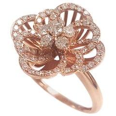 Ladies 14 Karat Rose Gold Round Diamond Ring