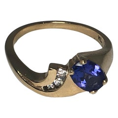 Ladies 14 Karat Tanzanite and Diamond Ring