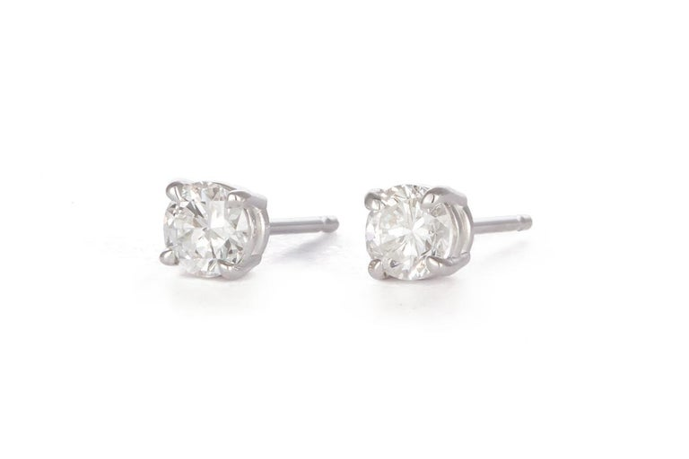 Modern Ladies 14 Karat White Gold and Diamond Stud Earrings 1.44 Carat For Sale