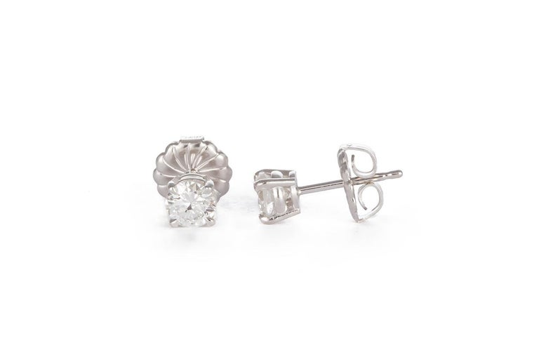 Ladies 14 Karat White Gold and Diamond Stud Earrings 1.44 Carat In New Condition For Sale In Tustin, CA