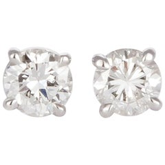 Ladies 14 Karat White Gold and Diamond Stud Earrings 1.44 Carat