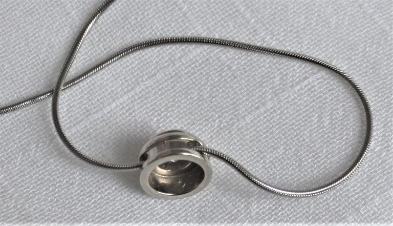Ladies 14-Karat White Gold & Diamond Modernist Slide Pendant & Snake Link Chain For Sale 3