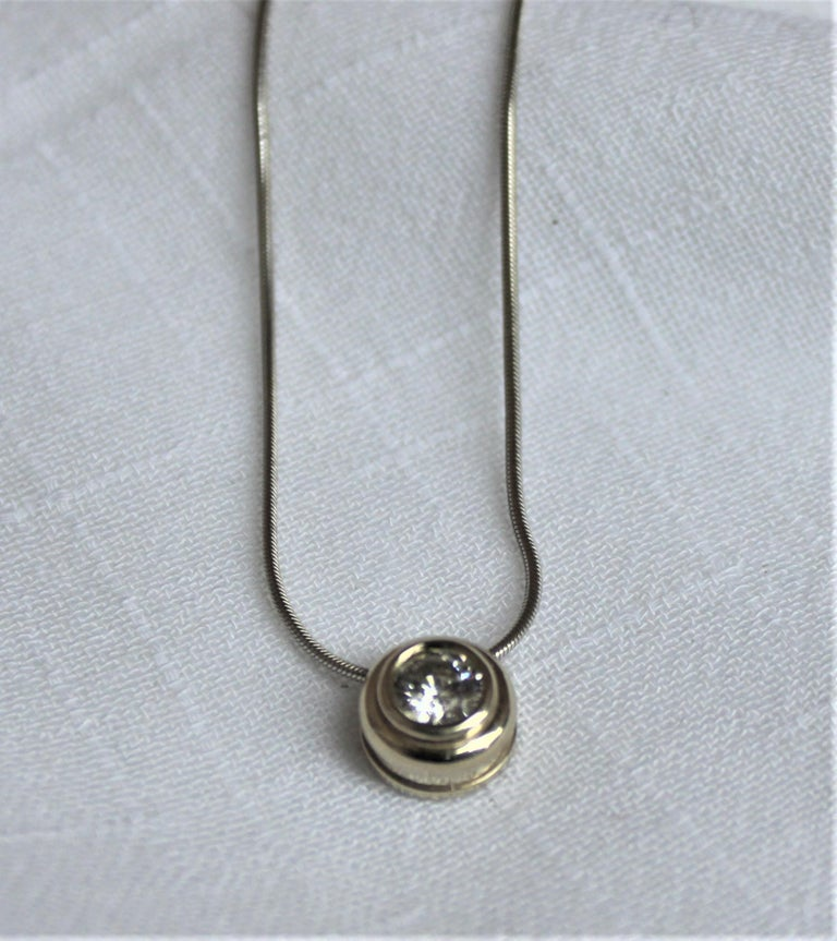 Ladies 14-Karat White Gold & Diamond Modernist Slide Pendant & Snake Link Chain For Sale 4