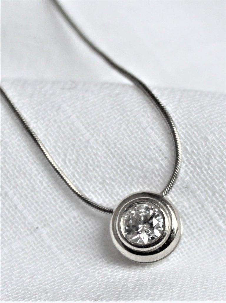 Ladies 14-Karat White Gold & Diamond Modernist Slide Pendant & Snake Link Chain For Sale 7