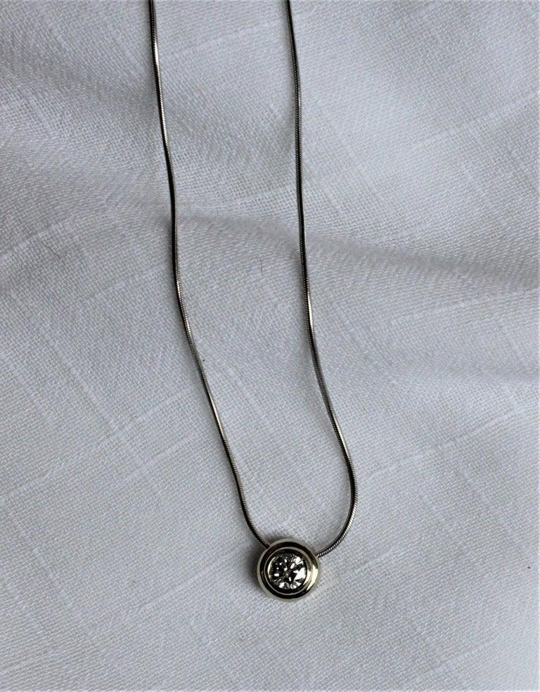 Mid-Century Modern Ladies 14-Karat White Gold & Diamond Modernist Slide Pendant & Snake Link Chain For Sale