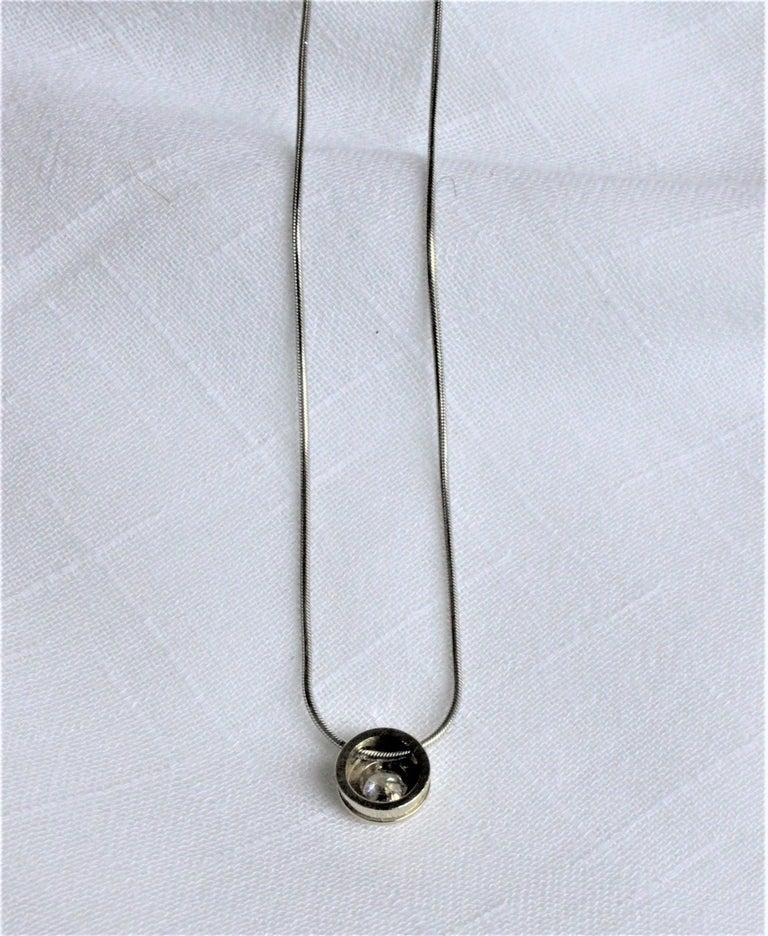20th Century Ladies 14-Karat White Gold & Diamond Modernist Slide Pendant & Snake Link Chain For Sale