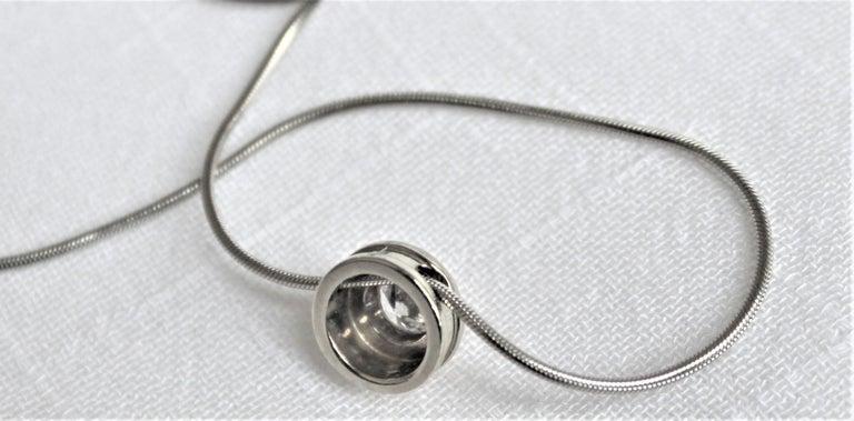 Ladies 14-Karat White Gold & Diamond Modernist Slide Pendant & Snake Link Chain For Sale 1