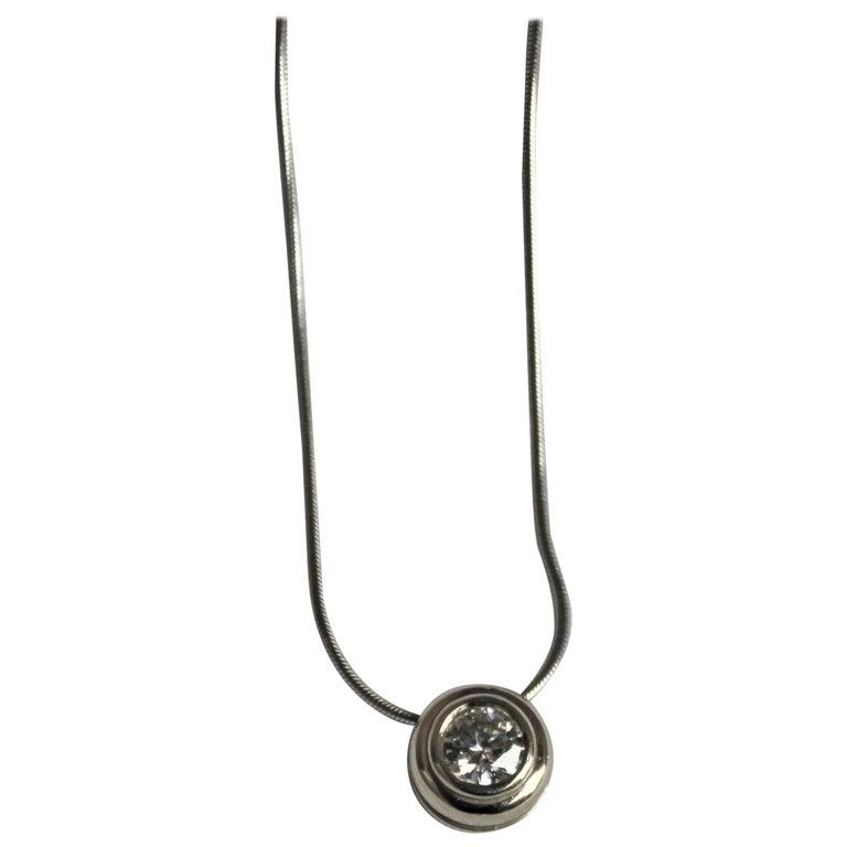 Ladies 14-Karat White Gold & Diamond Modernist Slide Pendant & Snake Link Chain For Sale