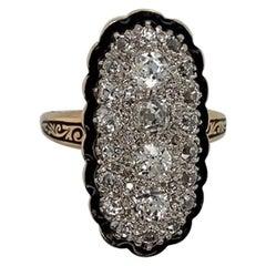 Ladies 14 Karat Yellow Gold Diamond and Enamel Victorian Fashion Ring