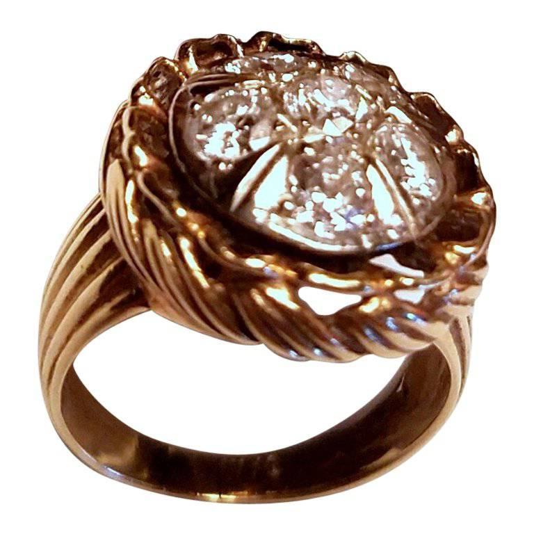 Ladies 14-Karat Yellow Gold Six Diamond Dinner Ring For Sale