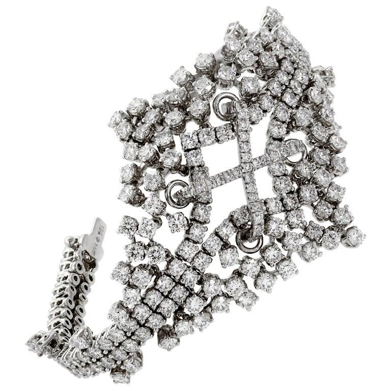 Ladies 14.4 Carat Flexible Diamond Tennis White Gold Bracelet For Sale