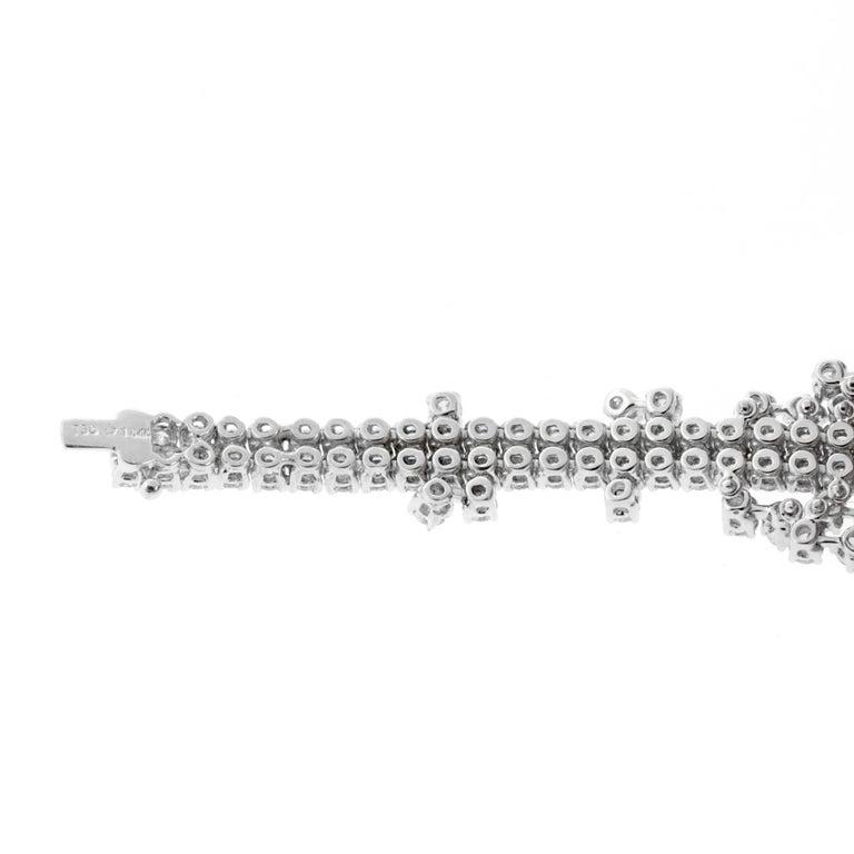 Round Cut Ladies 14.4 Carat Flexible Diamond Tennis White Gold Bracelet For Sale