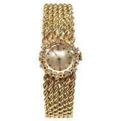 Ladies 14K Gold Watch with 12 Diamonds, Manual Wind, 17 Jewel Swiss Movement