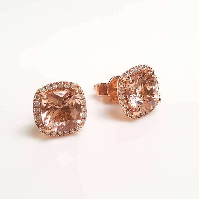 This Las 14k Rose Gold Morganite Earring Has 2 87 Carats Of And 0 25 Diamonds