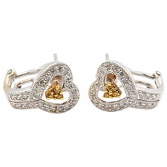 Ladies 18 Karat White and Yellow Gold Diamond Heart Huggie Earrings